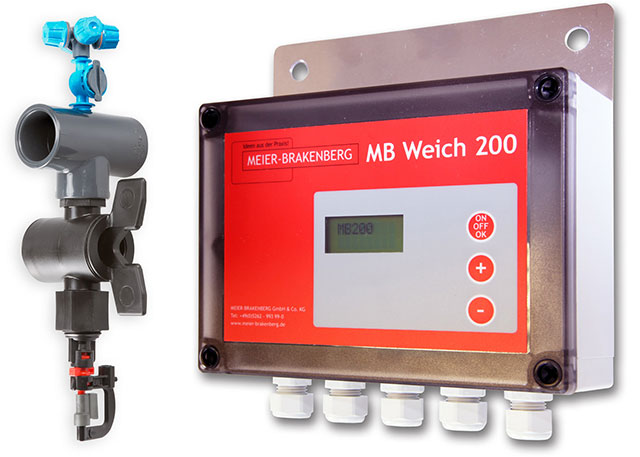 The combined soaking and cooling nozzle achieves best possible cooling results in connection with the illustrated soaking and cooling control unit MBWeich 200.