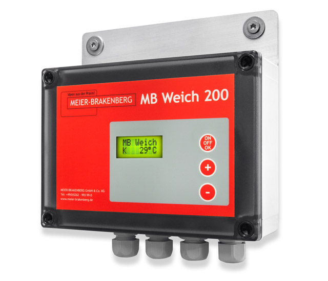 Easy and intuitive operation of the soaking and cooling control MBWeich200 can precisely set spraying and break intervals. In conjunction with the integrated temperature sensor and pressure release it provides an optimum control option to the user.