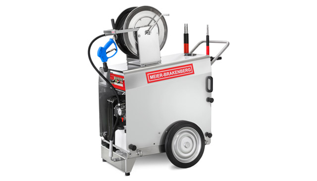 The mobile professional high-pressure cleaner excels due to its top-quality components such as the stainless steel cover, the aluminium chassis and the slow -speed industrial plunger pump. 1,320 l/h water output, the 80 kW burner heats the washing water up to 60 - 90 °C.
