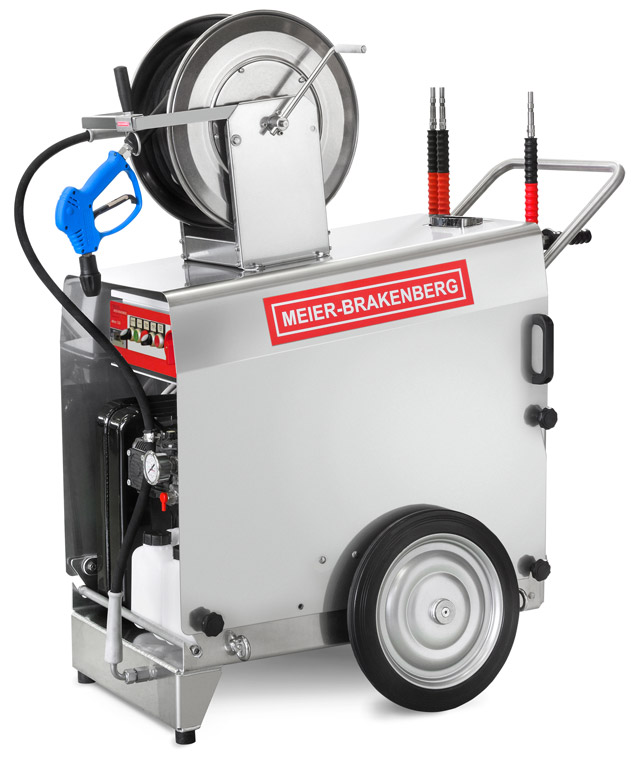 The mobile professional high-pressure cleaner excels due to its top-quality components such as the stainless steel cover, the aluminium chassis and the slow -speed industrial plunger pump.