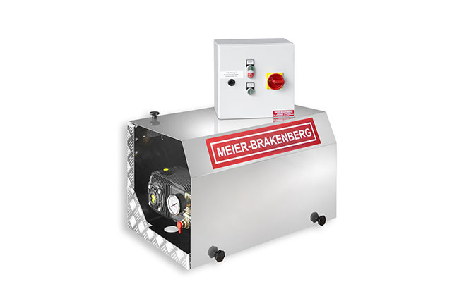Space-saving wall installation of the stationary professional high-pressure cleaner MBHST. Electromechanical automatic start-stop is included as standard equipment for most areas of application. The high-pressure station is ideal for integration into a permanently installed high-pressure line.
