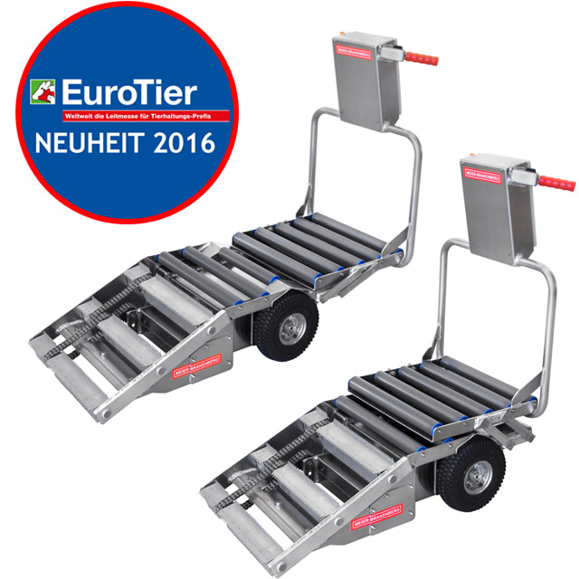 The new carcass trolley Porky's Pick Up XL will be presented for the first time at EuroTier 2016 in Hannover. The unique feature of this Pick Up is the modified Layout, to transport sows up to 300 Kg. For this requirement the user can expand the device during loading, to collect also heavy and large sows completely with this cart.