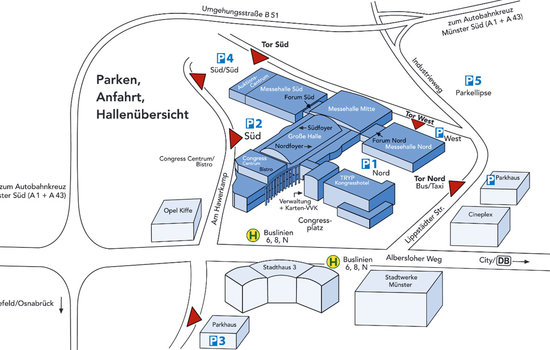 In this picture you can find the hall plan, also as possibilities for parking and the direction to Agrarunternehmertage in Münster. Meier-Brakenberg exhibits there in hall north at stand 3308.