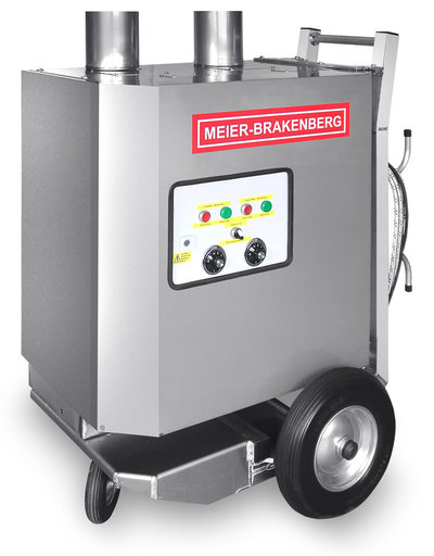 The mobile hot water boiler MBHot is the ideal supplement for the professional high-pressure cleaner when washing with hot water is requested. The 160 kW burner with stainless steel heating coil of the MBHot heats water throughputs of 30 l/min up to 80 or 90 °C.