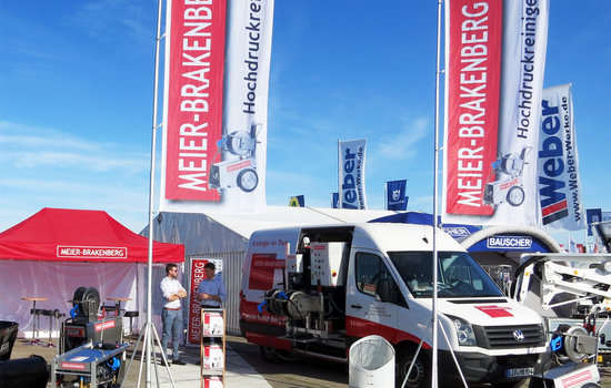 The exhibition stand of Meier-Brakenberg at trade show Demopark in Eisenach: The most important topic was cleaning applications. For this purpose we use our Showcar to demonstrate the professional high-pressure cleaner for industrial and commercial use.